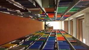 A sideways picture of all the wonderful colours of the library
